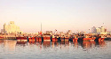 Traditional fishing boats, called dhows, still...