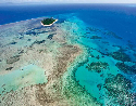 Part of the Great Barrier Reef seen from the air.