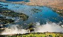 Aerial view of the Zambezi River and Victoria...