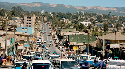 A busy street in Addis Ababa, the capital of...