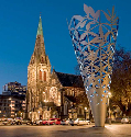 The Cathedral Square, Christchurch, features the...