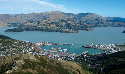 The port of Lyttelton, Lyttelton Harbour, on the...