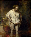 48. Rembrandt, A Woman bathing in a Stream...