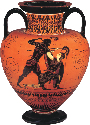 Exekias, black-figured amphora showing Achilles...