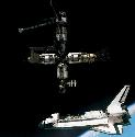 Mir The space shuttle Atlantis is seen here...