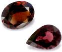 Faceted pyrope-garnet gem (left) and faceted...