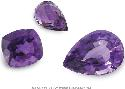 Various cuts and shapes of amethyst gems