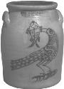 Open mouth jar with handles depicting bird with...