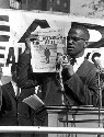 Militant black leader Malcolm X at a Black Muslim...