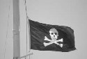 The pirate flag on a sailboat off the Virgin...