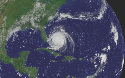 Pictured from space, Hurricane Frances lashes the...