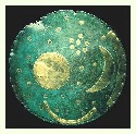 Nebra sky disk. A metal disk from ca....