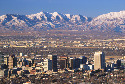 Salt Lake City, Utah, with the Wasatch Range in...
