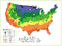 Map of hardiness zones in the United...