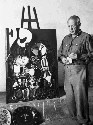 Picasso at work at his home in southern France in...