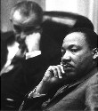 Martin Luther King, Jr. (foreground), meets with...