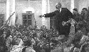 Vladimir Lenin addresses a crowd of followers at...