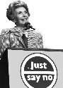 "Nancy Reagan speaks at a ""Just Say No"" rally in..."