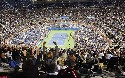 Fans cheer during the Roger Federer versus Jürgen...