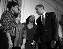 President Barack Obama greets the sisters of...