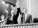 Presidential candidate Jimmy Carter (left) and...