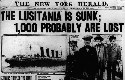 The New York Herald headline on May 8, 1915, the...