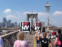 On the Brooklyn Bridge during the march for...
