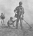 U.S. troops search for landmines near the border...