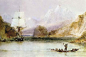HMS Beagle at Tierra del Fuego (painted by Conrad...